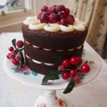 Gingerbread Cake with Cream Cheese Icing and Frosted Cranberries